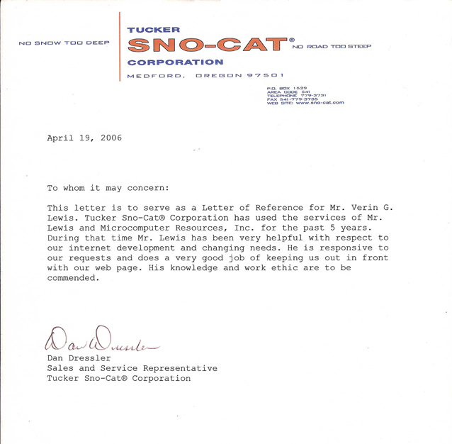 Letter Reference - Tucker Sno-Cat, Medfor Oregon